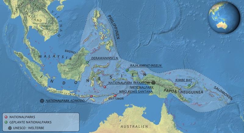 Une carte du triangle corallien, une bio-diversité incroyable.